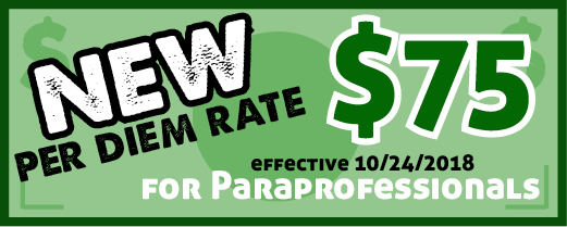 New per diem rate (paraprofessionals)